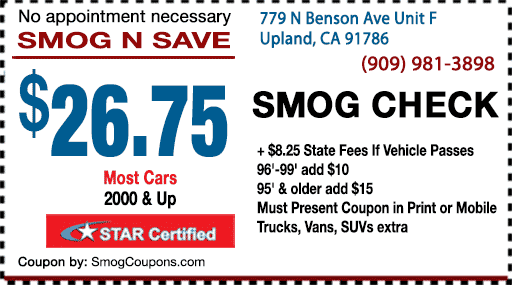 smog check coupon in Upland